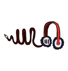 Comic cartoon headphones vector