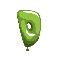 Comic letter d in form bright green balloon vector