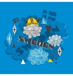 Creative background with swedish symbols vector image
