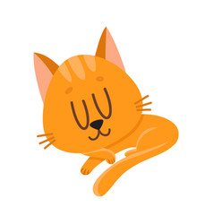 cute and funny red cat character sleeping vector image