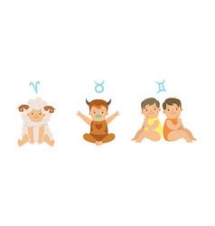 cute little kids wearing as zodiac signs set vector image