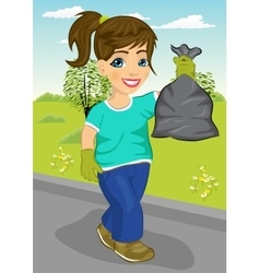 Cute teenager girl holding garbage bag vector