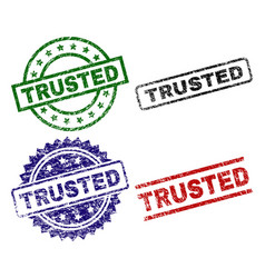 Damaged textured trusted seal stamps vector