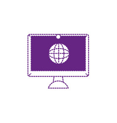 dotted shape screen electronic equipment with vector image
