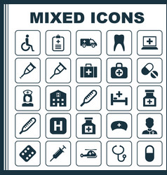 Drug icons set collection of pellet surgical bag vector