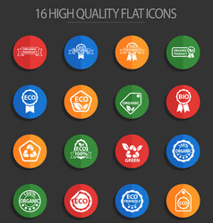 eco label 16 flat icons vector image