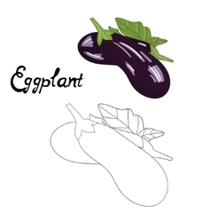 Educational game coloring book eggplant vector