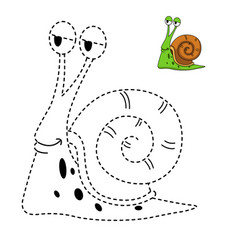 educational game for kids and coloring book-snail vector image