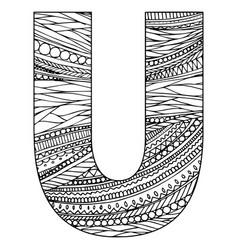 Entangle stylized alphabet - letter u black vector
