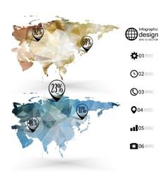 Eurasia map template triangle design infographics vector
