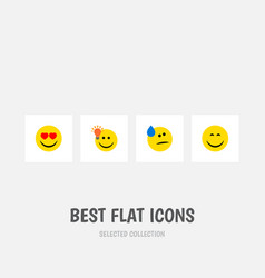 Flat icon gesture set of tears smile have an vector