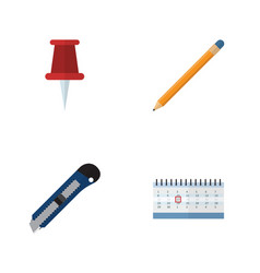 Flat icon stationery set of date block knife vector