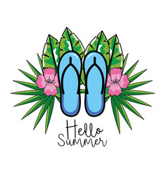 flip flops with flowers and leaves to summer vector image