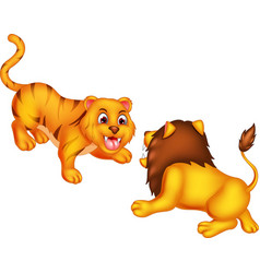 funny lion and tiger cartoon vector image