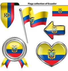 Glossy icons with Ecuadorian flag vector