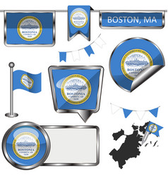 glossy icons with flag of boston vector image