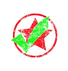 Green check in red cycle with star grunge rubber s vector