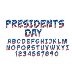 grunge font with american flag alphabet vector image