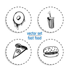 Hand drawn bakery sticker set blackboard icon vector