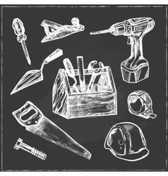 hand drawn set construction tools vector image