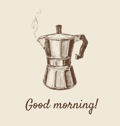 Hand drawn sketch coffee maker vector