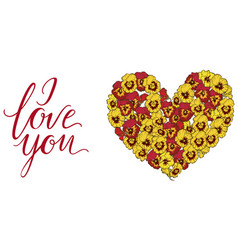 Heart of yellow and red pansies flowers isolated vector
