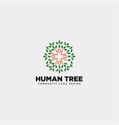 Human tree leaf community logo template icon vector