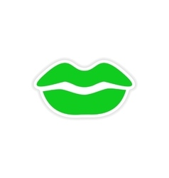 Icon sticker realistic design on paper female lips vector