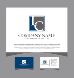Initials lc logo with a business card vector