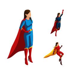 Isometry set of superhero girls in different suits vector