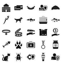 kitten icons set simple style vector image