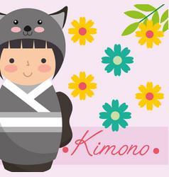 kokeshi japanese national doll in a kimono animal vector image