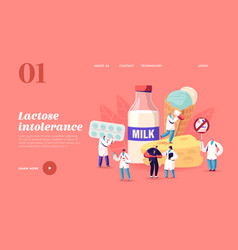 lactose intolerance landing page template man vector image