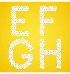 Letters EFGH composed from daisy flowers Complete vector image