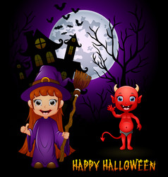 little witch cartoon holding broom and red devil o vector image
