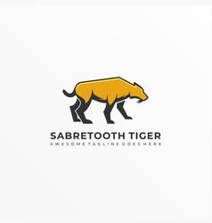Logo saber tooth mascot cartoon vector
