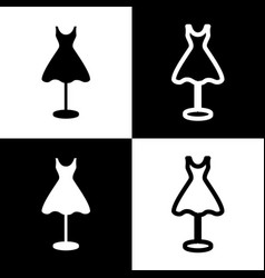 Mannequin with dress sign black and white vector