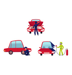 Mechanic checking painting car and changing tire vector