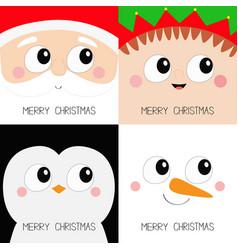 Merry christmas santa claus elf snowman penguin vector