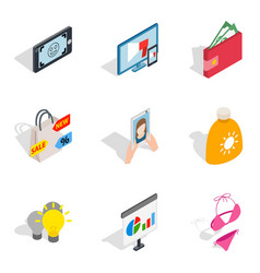 Missy icons set isometric style vector