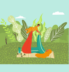 mom and small badoing sport on nature happy vector image