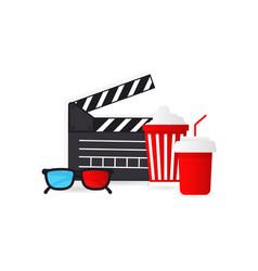 movie time popcorn bucket glass drink tickets vector image