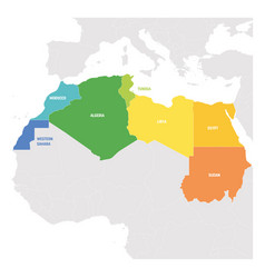 North africa region colorful map of countries in vector