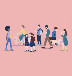 People on street men and women of different age vector
