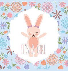 pink rabbit wit bow baby shower its a girl vector image