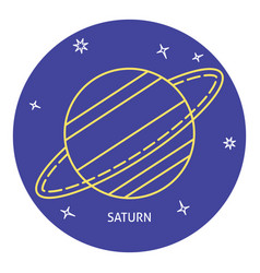 Planet saturn icon in thin line style vector
