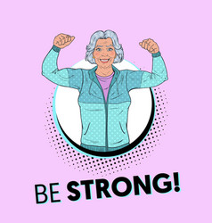 pop art fit senior mature woman showing muscles vector image