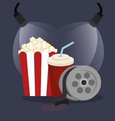Pop corn cinema with reel vector