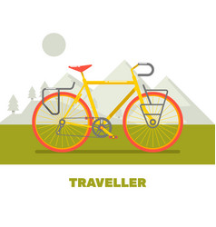 retro bicycle travel flat art vector image