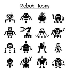 Robot icon set vector